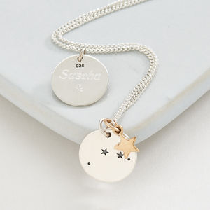 Silver Zodiac Constellation And Star Necklace - wedding jewellery