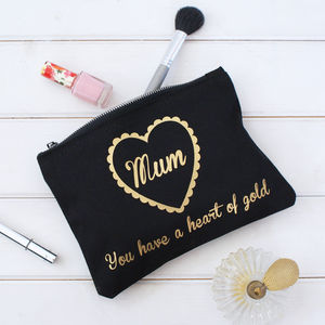 Personalised Heart Of Gold Make Up Pouch