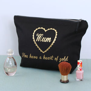 Personalised Heart Of Gold Toiletry Bag