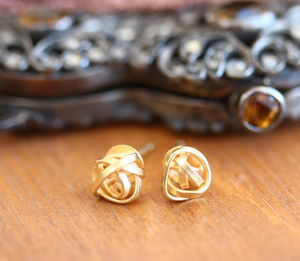 Handmade Gold Plated Knot Stud Earrings