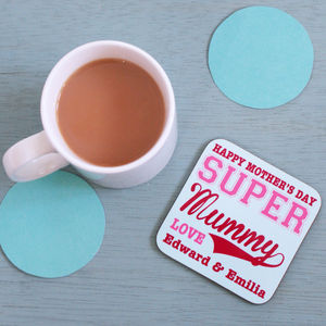Personalised Super Mummy Coaster - gifts for mothers