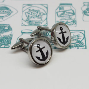 Illustrated Anchor Cufflinks - cufflinks