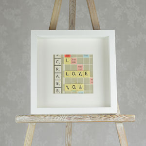 'I Love You' Vintage Scrabble Art
