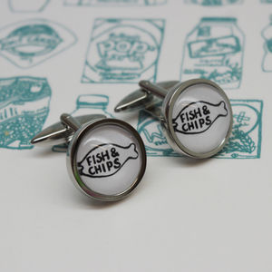 Illustrated Fish And Chip Cufflinks - cufflinks