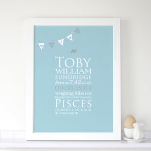 Personalised Baby Boy 'Bunting' Birth Print - posters & prints for children
