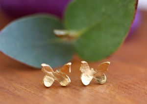 Handmade Gold Plated Butterfly Stud Earrings - earrings