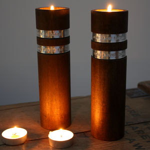 Eternity Personalised Wooden Tealight Candle Holders - new in home