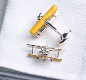Solid Silver Bi Plane Cuflinks - men's accessories
