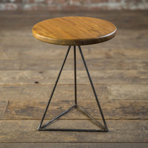 Iroko Geometric Table / Stool - side tables