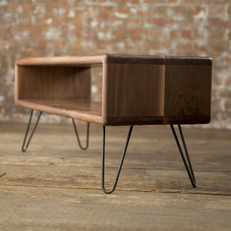 walnut midcentury modern hairpin leg tv stand by biggs quail. Black Bedroom Furniture Sets. Home Design Ideas