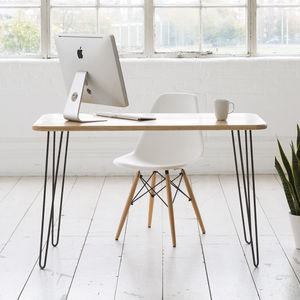 Ash Midcentury Modern Hairpin Leg Desk - office & study
