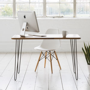 Iroko Midcentury Modern Hairpin Leg Desk - furniture