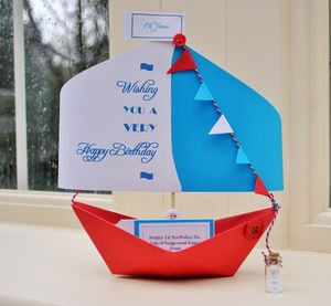 Happy Birthday Paper Boat Card Gift Keepsake - birthday cards
