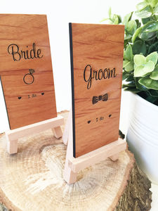 Bride Or Groom Wooden Place Setting - table decorations