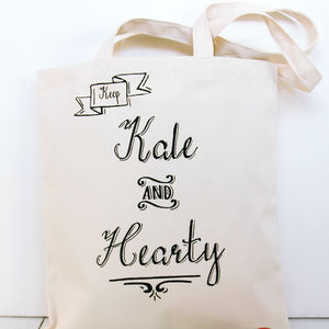 'Keep Kale And Hearty' Reusuable Shopping Tote - shoulder bags