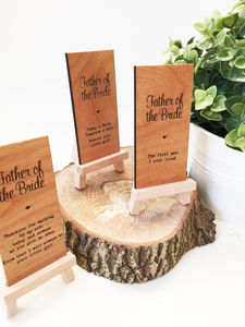 Father Of The Bride Wooden Place Setting - table decorations