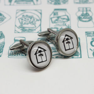 Illustrated Beach Hut Cufflinks
