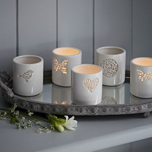 Tangled Motif Ceramic Tea Light Holder - candles & candle holders