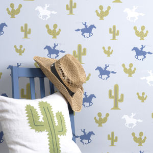 Cactus Cowboy Wallpaper - children's room