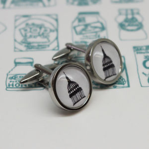 Illustrated St Paul's Cathedral Cufflinks - cufflinks
