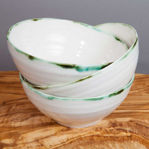 Ceramic Porcelain Copper Green Rim Soup Bowl - bowls
