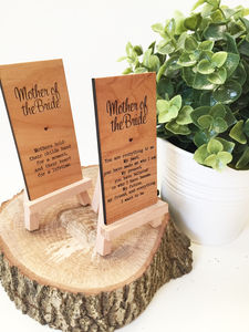Mother Of The Bride Wooden Place Setting - table decorations