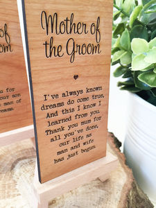 Mother Of The Groom Wooden Place Setting