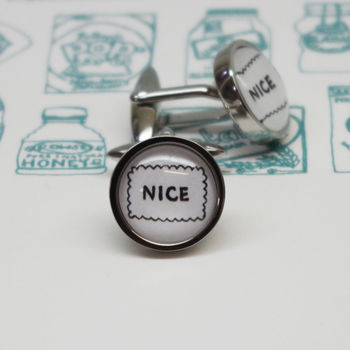 Illustrated 'Nice' Biscuit Cufflinks