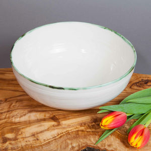 Ceramic Porcelain Copper Green Rim Salad Bowl - bowls