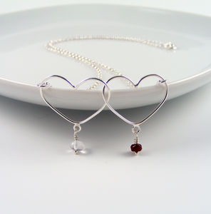 Silver Double Heart Birthstone Necklace - personalised