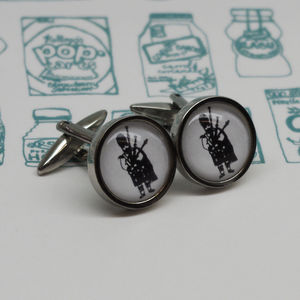 Illustrated Bagpipe Player Cufflinks - cufflinks