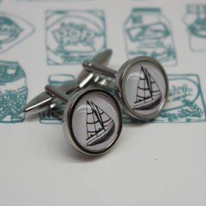 Illustrated Boat Cufflinks - men's accessories
