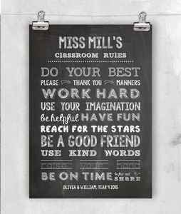 Personalised Teachers Class Gift. Poster Or Canvas
