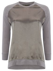 Silver Grey Satin Jersey Baseball Tee With Long Sleeves