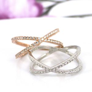 Pave Criss Cross Ring In Sterling Silver