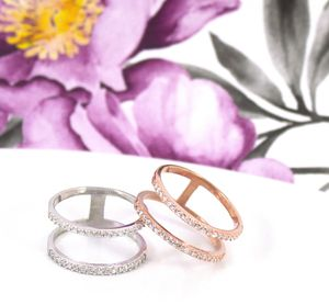 Sterling Silver Pave Double Band Cage Ring