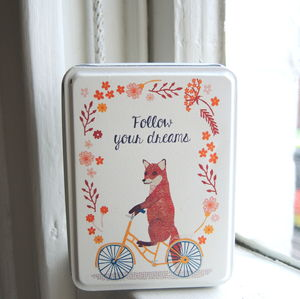 Fox On A Bike Trinket Tin