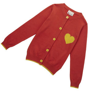 Red Knit Sweetheart Cardigan