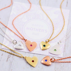 Birthstone Heart Necklace Gift Card - necklaces & pendants