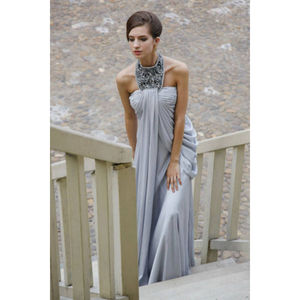 Grey Halterneck Evening Dress With Jewelry Necklace - dresses