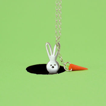 Betsy Silver Bunny And Carrot Necklace