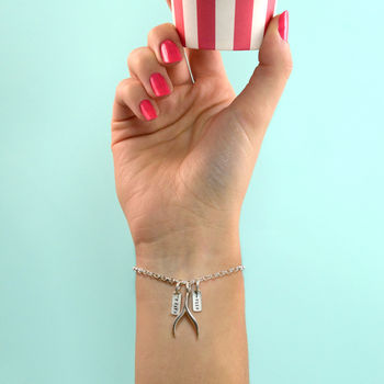 'Make A Wish' Silver Wishbone Bracelet