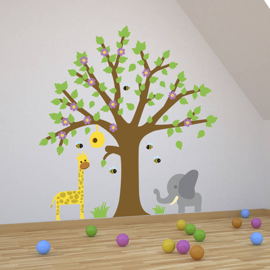 children tree with bees wall stickers by mirrorin 109 inch large tree wall decals for kids rooms