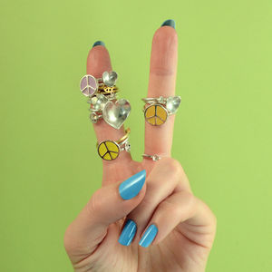 Peace Love And Daisy Stack Rings