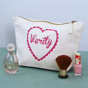 Personalised Heart Toiletry Bag