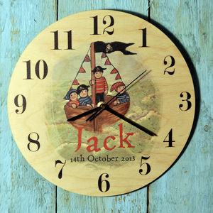 Personalised Pirate Boat Clock - clocks