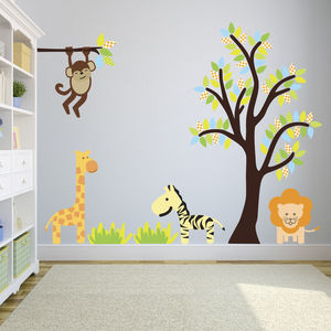 Bright Jungle Tree Wall Stickers - baby's room