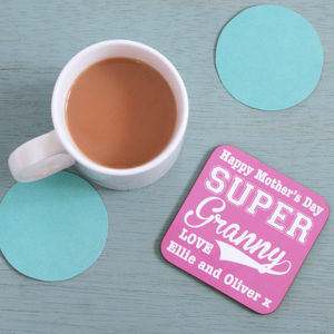 Personalised Super Granny Coaster - tableware