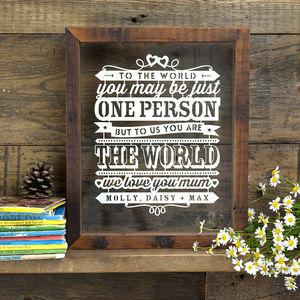 'You Are The World' Personalised Papercut For Mum - mother's day gifts