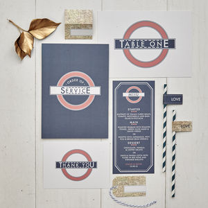 Vintage London On The Day Wedding Stationery
